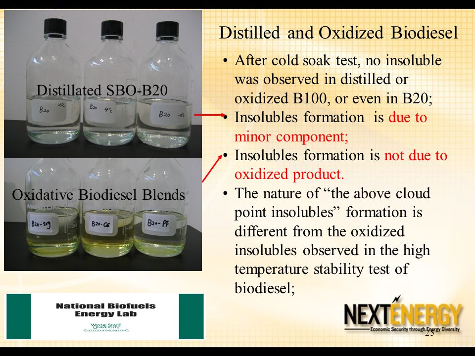 25 Distilled and Oxidized Biodiesel Oxidative Biodiesel Blends Distillated SBO-B20 After cold soak test, no insoluble was observed in distilled or oxi