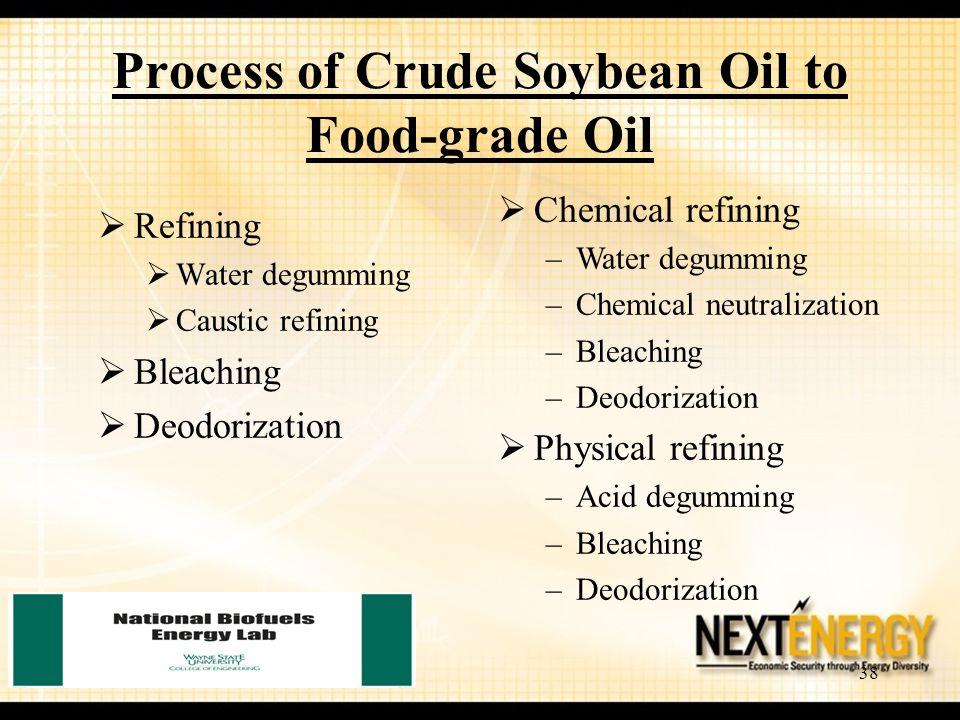 38 Process of Crude Soybean Oil to Food-grade Oil  Refining  Water degumming  Caustic refining  Bleaching  Deodorization  Chemical refining –Wat