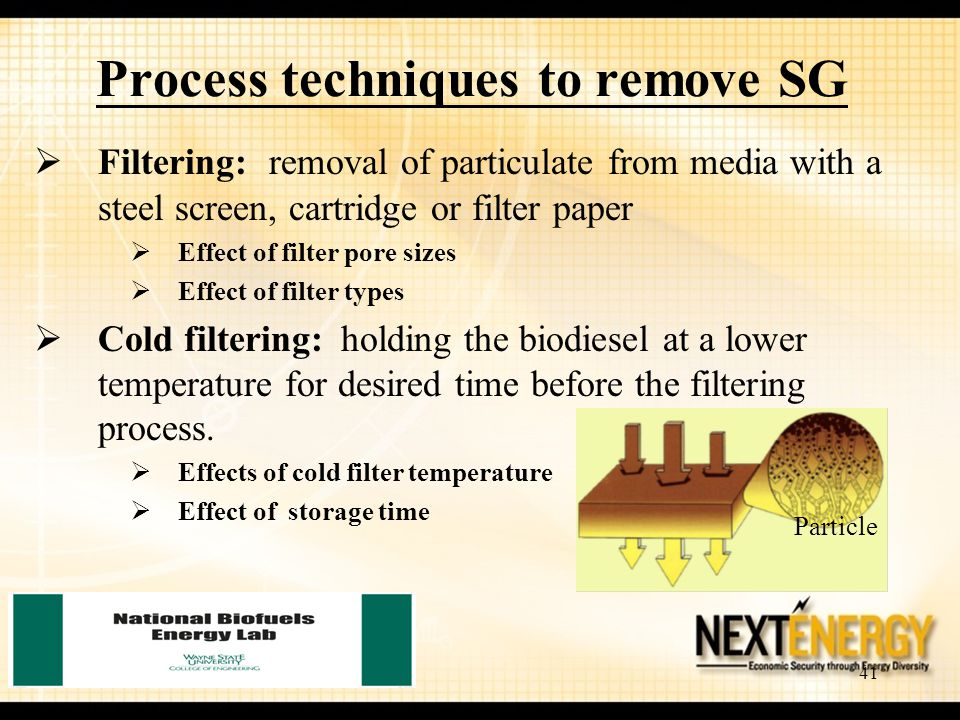 41 Process techniques to remove SG  Filtering: removal of particulate from media with a steel screen, cartridge or filter paper  Effect of filter po