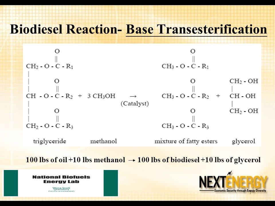 7 Biodiesel Reaction- Base Transesterification 100 lbs of oil +10 lbs methanol 100 lbs of biodiesel +10 lbs of glycerol