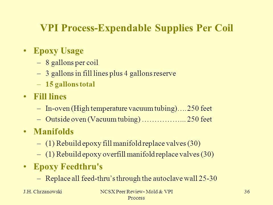 J.H. ChrzanowskiNCSX Peer Review- Mold & VPI Process 36 VPI Process-Expendable Supplies Per Coil Epoxy Usage –8 gallons per coil –3 gallons in fill li
