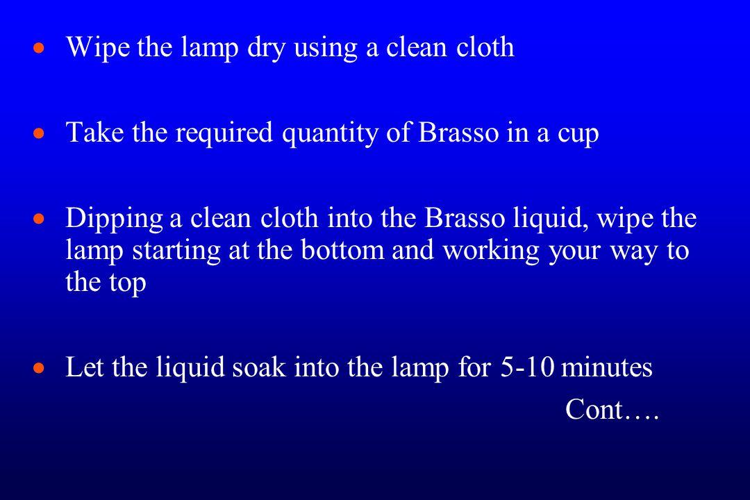   Wipe the lamp by rubbing it vigorously.