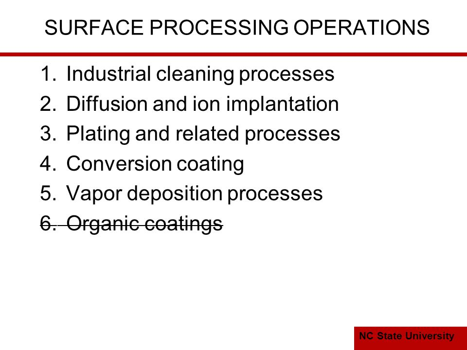 NC State University SURFACE PROCESSING OPERATIONS 1.Industrial cleaning processes 2.Diffusion and ion implantation 3.Plating and related processes 4.Conversion coating 5.Vapor deposition processes 6.Organic coatings