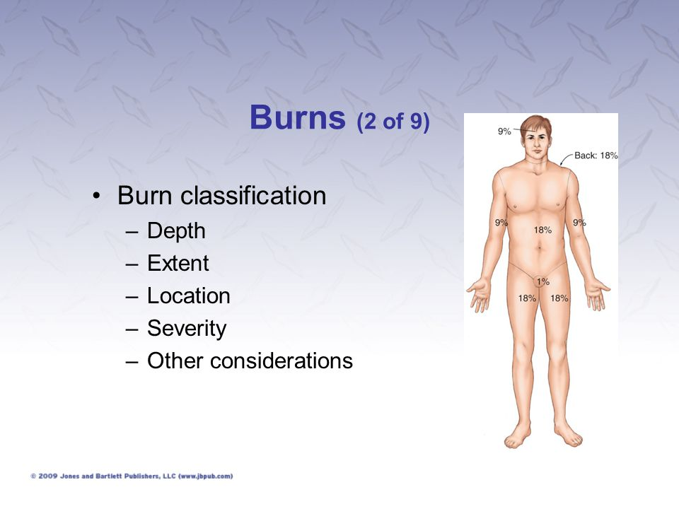 Burns (2 of 9) Burn classification –Depth –Extent –Location –Severity –Other considerations