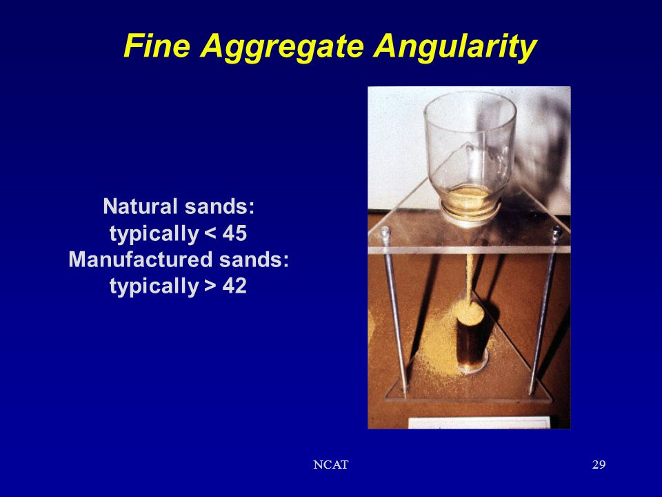 NCAT28 Fine Aggregate Angularity (Uncompacted Void Content of Fine Aggregate) * Fine aggregate at a specified gradation is allowed to flow freely into
