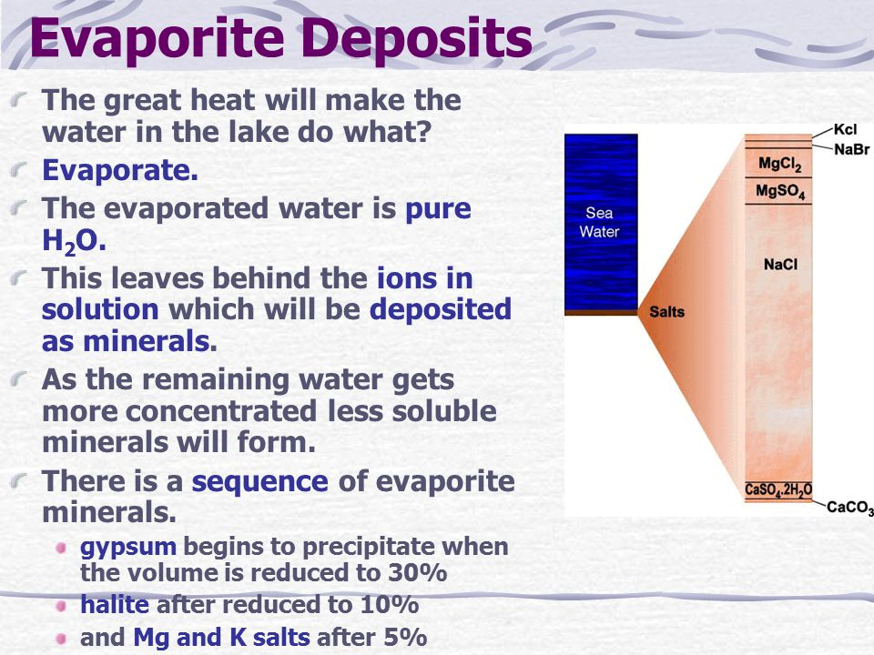 Evaporite Deposits The great heat will make the water in the lake do what? Evaporate. The evaporated water is pure H 2 O. This leaves behind the ions