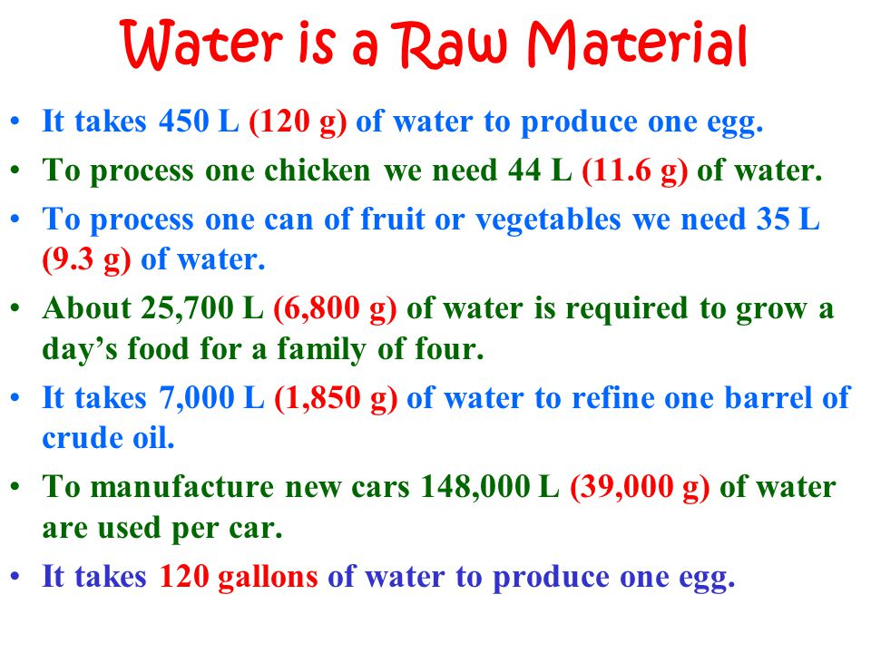 Water is a Raw Material It takes 450 L (120 g) of water to produce one egg. To process one chicken we need 44 L (11.6 g) of water. To process one can