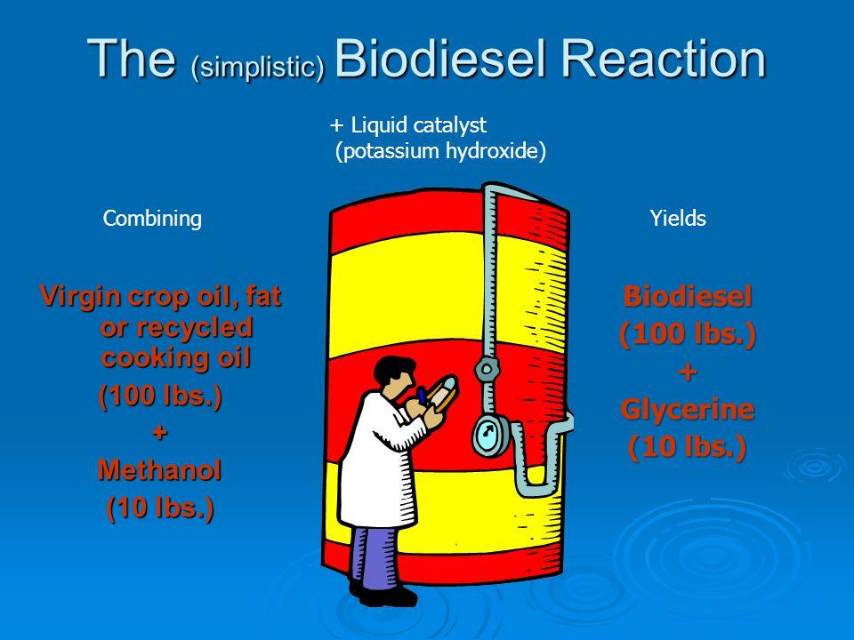 The (simplistic) Biodiesel Reaction Virgin crop oil, fat or recycled cooking oil (100 lbs.) +Methanol (10 lbs.) Biodiesel (100 lbs.) +Glycerine (10 lbs.) + Liquid catalyst (potassium hydroxide) CombiningYields