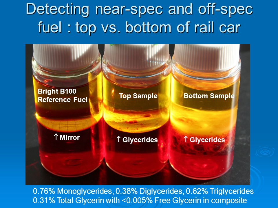 Detecting near-spec and off-spec fuel : top vs.