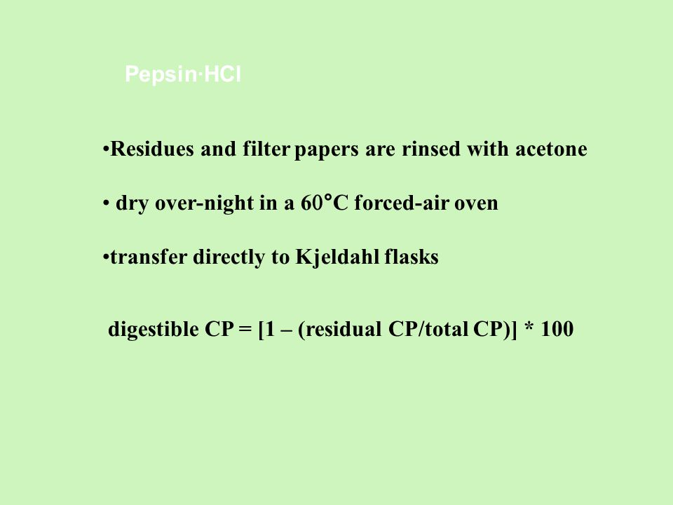Pepsin·HCl Residues and filter papers are rinsed with acetone dry over-night in a 6  °C forced-air oven transfer directly to Kjeldahl flasks digestible CP = [1 – (residual CP/total CP)] *  100