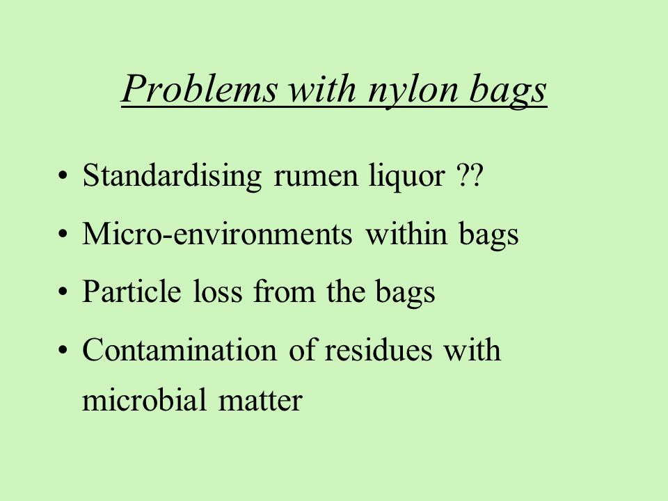 Problems with nylon bags Standardising rumen liquor ?? Micro-environments within bags Particle loss from the bags Contamination of residues with micro