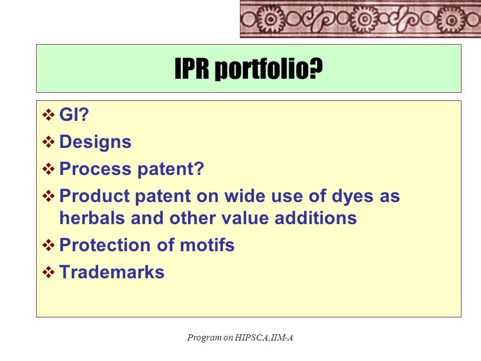 Program on HIPSCA,IIM-A IPR portfolio.  GI.  Designs  Process patent.