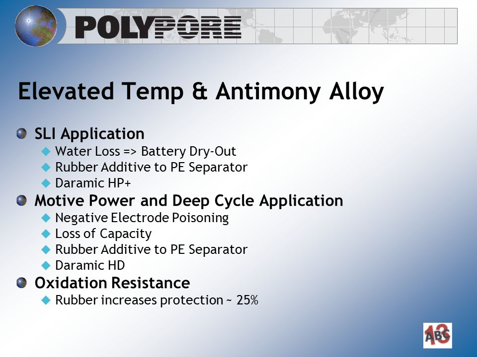 Elevated Temp & Antimony Alloy SLI Application  Water Loss => Battery Dry-Out  Rubber Additive to PE Separator  Daramic HP+ Motive Power and Deep C