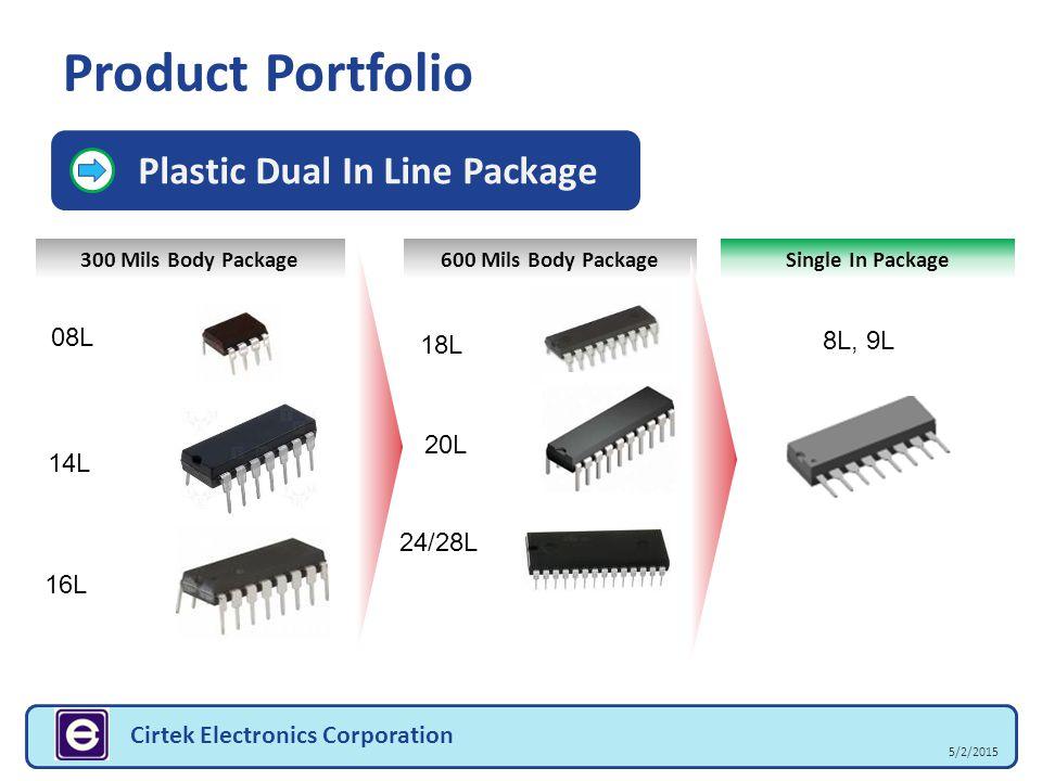 Product Portfolio 5/2/2015 Cirtek Electronics Corporation Plastic Dual In Line Package 300 Mils Body Package Single In Package 600 Mils Body Package 0