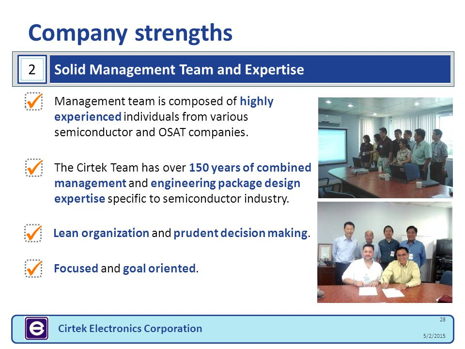 Company strengths 28 5/2/2015 Cirtek Electronics Corporation Management team is composed of highly experienced individuals from various semiconductor