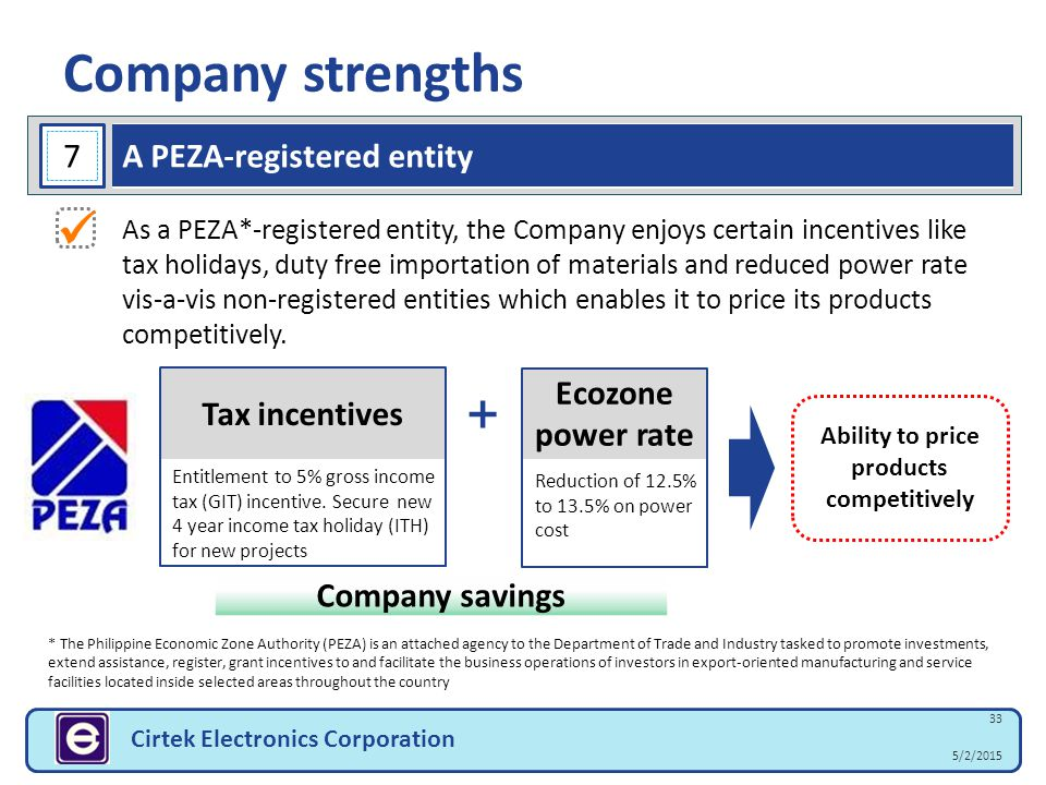 5/2/2015 33 Cirtek Electronics Corporation Company strengths * The Philippine Economic Zone Authority (PEZA) is an attached agency to the Department o