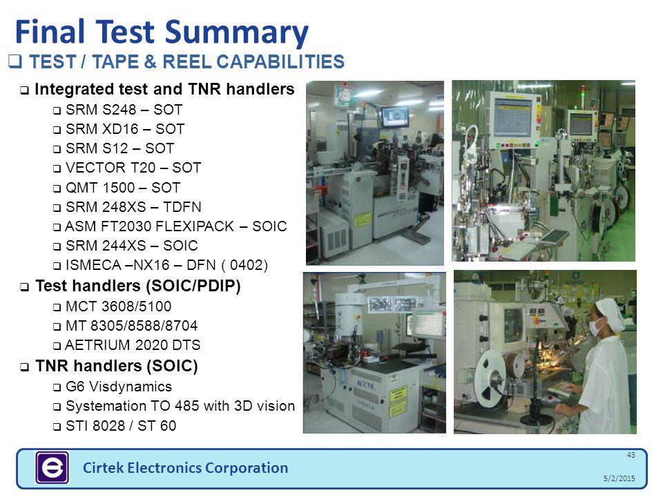 5/2/2015 43 Cirtek Electronics Corporation Final Test Summary  TEST / TAPE & REEL CAPABILITIES  Integrated test and TNR handlers  SRM S248 – SOT 