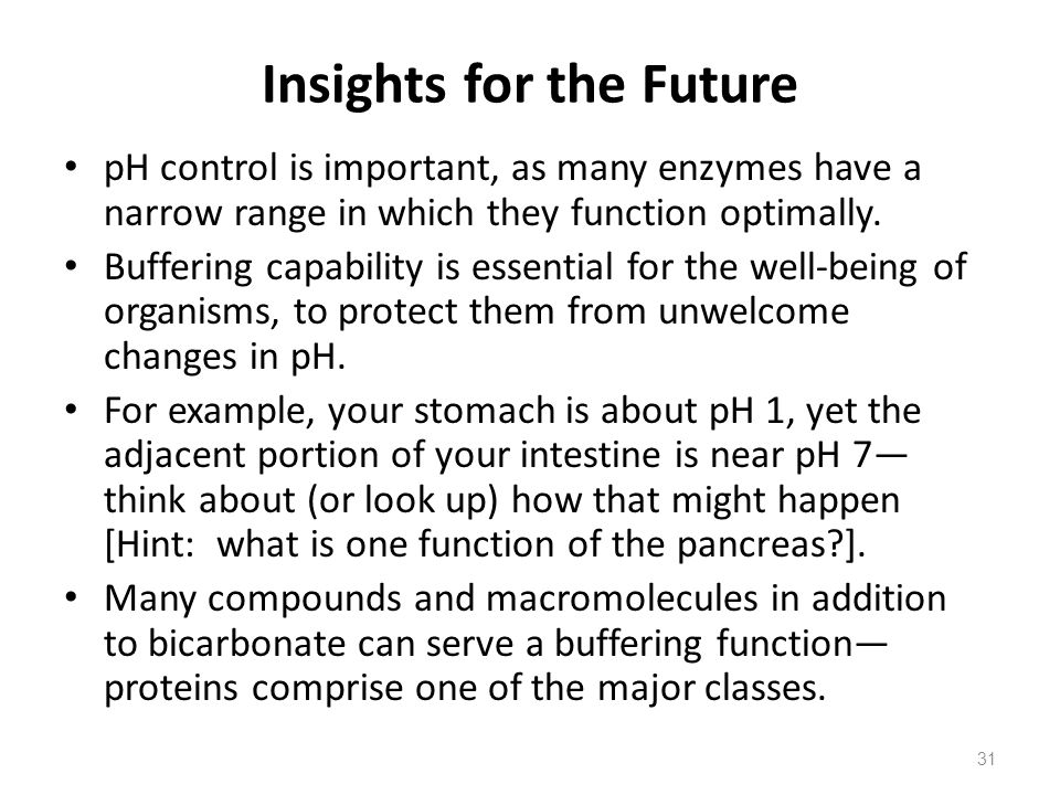 Insights for the Future pH control is important, as many enzymes have a narrow range in which they function optimally. Buffering capability is essenti