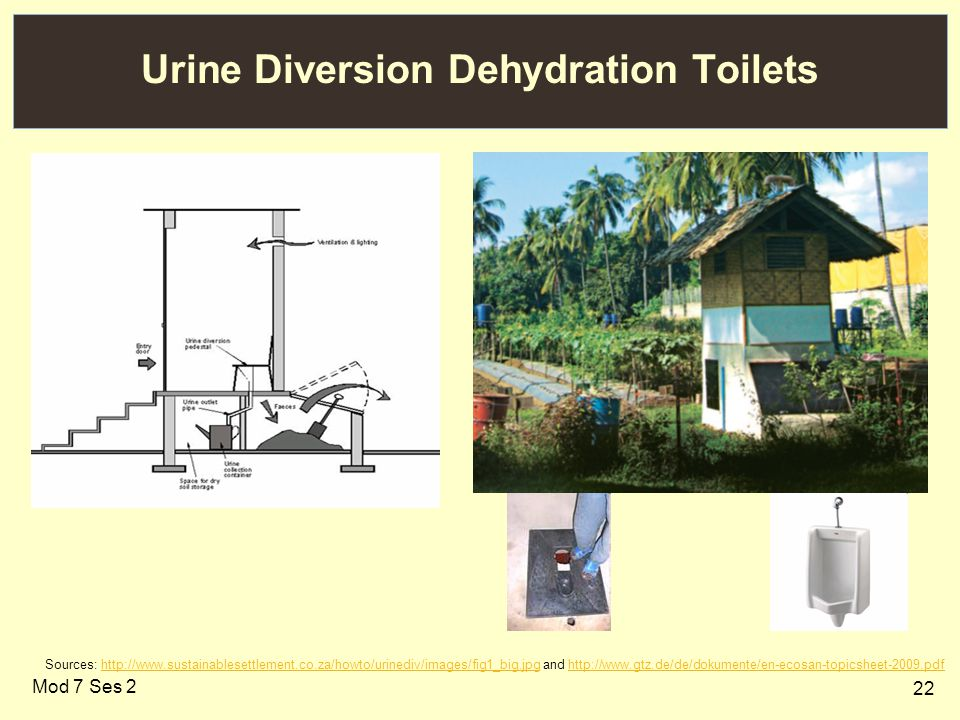 22 Urine Diversion Dehydration Toilets Sources: http://www.sustainablesettlement.co.za/howto/urinediv/images/fig1_big.jpg and http://www.gtz.de/de/dokumente/en-ecosan-topicsheet-2009.pdfhttp://www.sustainablesettlement.co.za/howto/urinediv/images/fig1_big.jpghttp://www.gtz.de/de/dokumente/en-ecosan-topicsheet-2009.pdf Mod 7 Ses 2