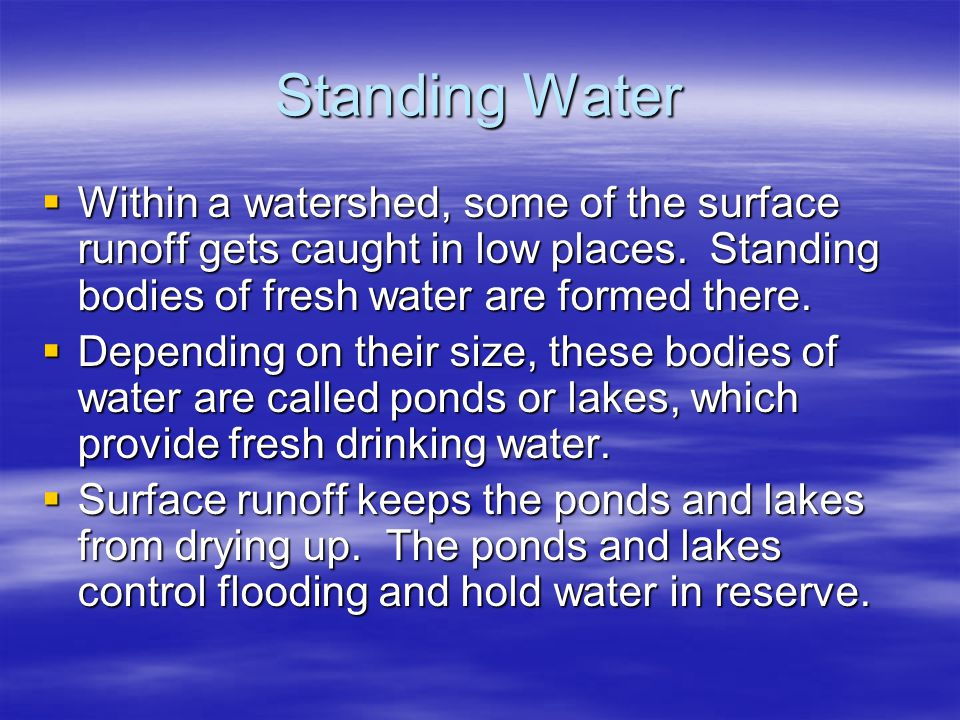 Standing Water  Within a watershed, some of the surface runoff gets caught in low places. Standing bodies of fresh water are formed there.  Dependin