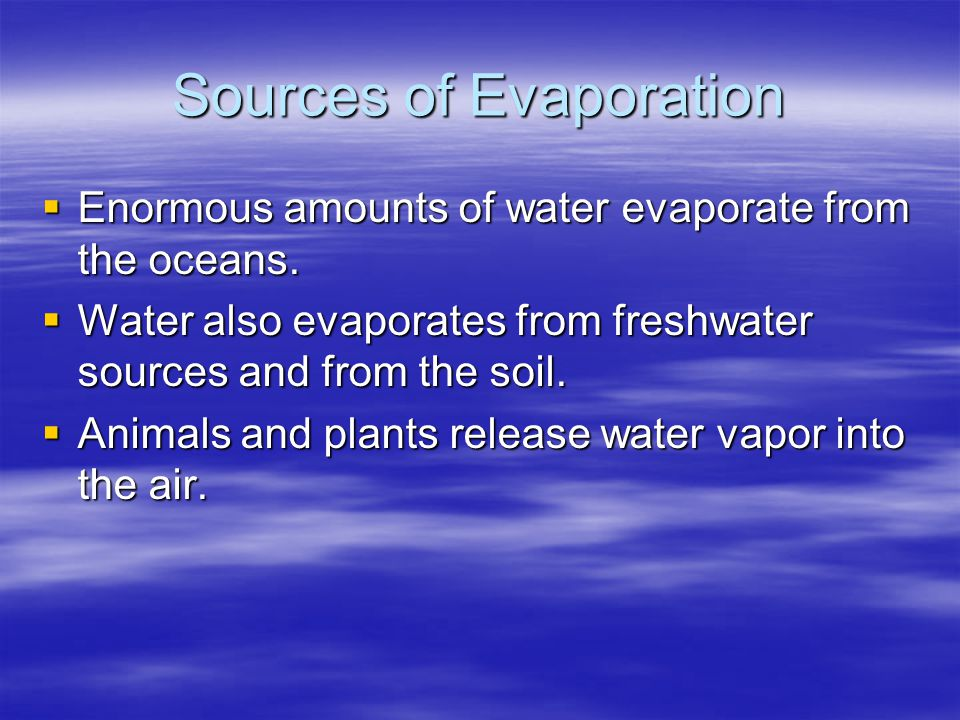 Sources of Evaporation  Enormous amounts of water evaporate from the oceans.  Water also evaporates from freshwater sources and from the soil.  Ani
