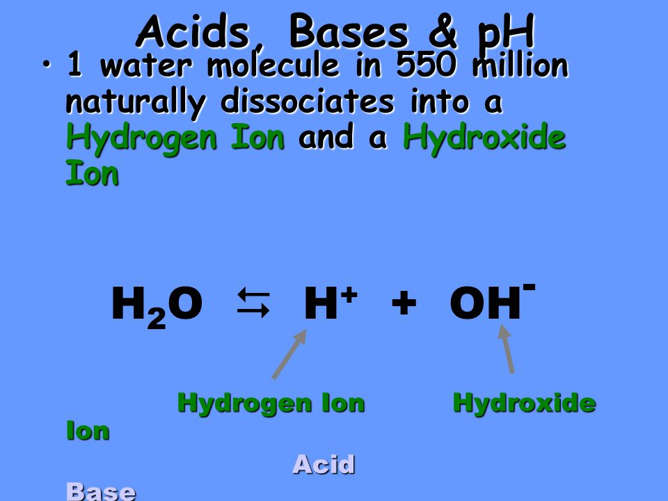 Acids, Bases & pH 1 water molecule in 550 million naturally dissociates into a Hydrogen Ion and a Hydroxide Ion1 water molecule in 550 million naturally dissociates into a Hydrogen Ion and a Hydroxide Ion Hydrogen Ion Hydroxide Ion Acid Base Acid Base H 2 O  H + + OH -