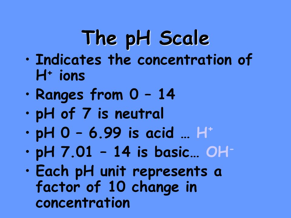 The pH Scale Indicates the concentration of H + ions Ranges from 0 – 14 pH of 7 is neutral pH 0 – 6.99 is acid … H + pH 7.01 – 14 is basic… OH - Each pH unit represents a factor of 10 change in concentration