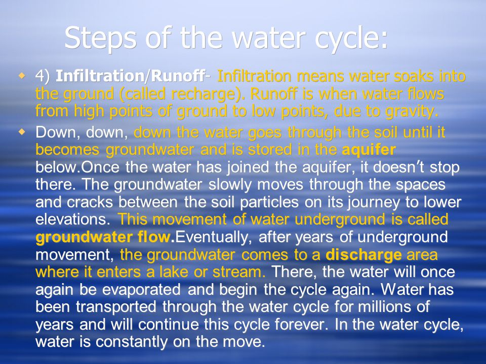 Steps of the water cycle:  4) Infiltration/Runoff- Infiltration means water soaks into the ground (called recharge). Runoff is when water flows from