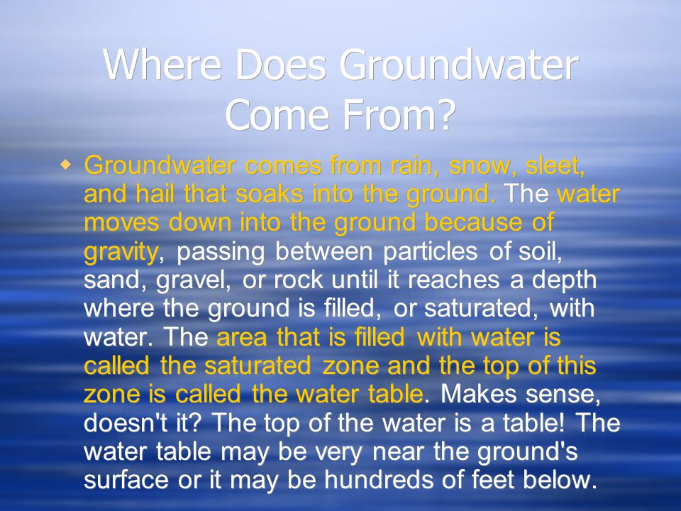 Where Does Groundwater Come From?  Groundwater comes from rain, snow, sleet, and hail that soaks into the ground. The water moves down into the groun