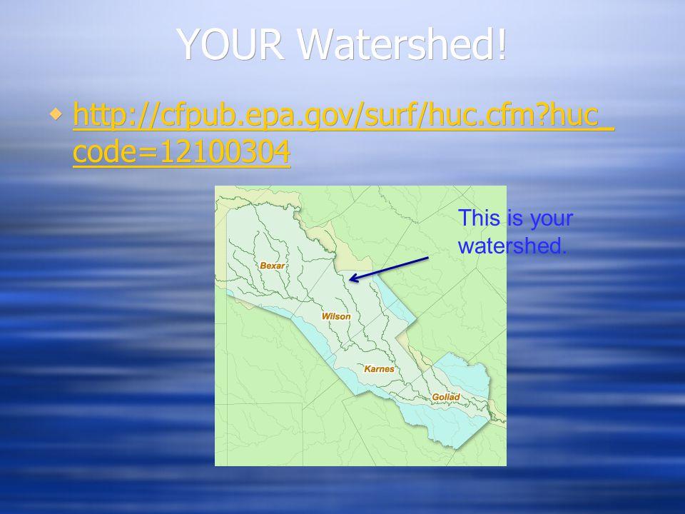 YOUR Watershed!  http://cfpub.epa.gov/surf/huc.cfm?huc_ code=12100304 http://cfpub.epa.gov/surf/huc.cfm?huc_ code=12100304  http://cfpub.epa.gov/sur