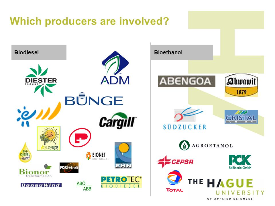 Biodiesel Which producers are involved Bioethanol