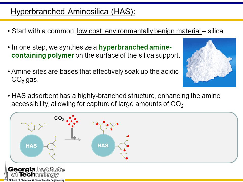Hyperbranched Aminosilica (HAS): Start with a common, low cost, environmentally benign material – silica.