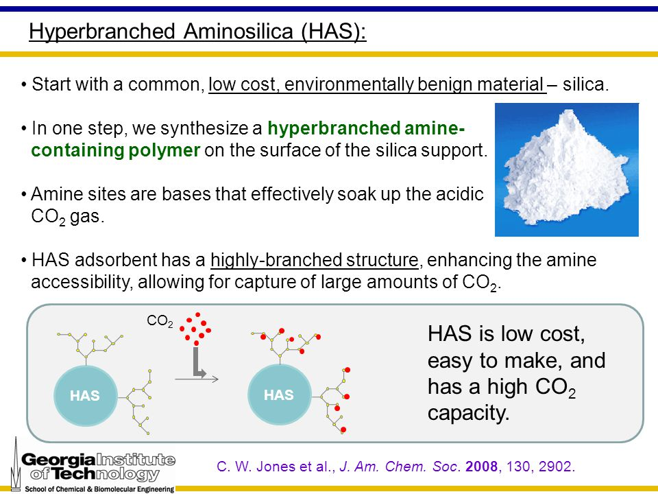 Hyperbranched Aminosilica (HAS): Start with a common, low cost, environmentally benign material – silica. In one step, we synthesize a hyperbranched a