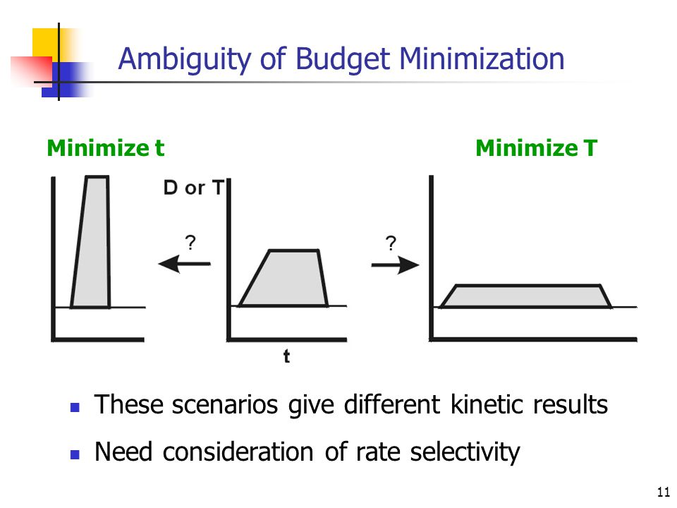 11 Ambiguity of Budget Minimization These scenarios give different kinetic results Need consideration of rate selectivity Minimize tMinimize T