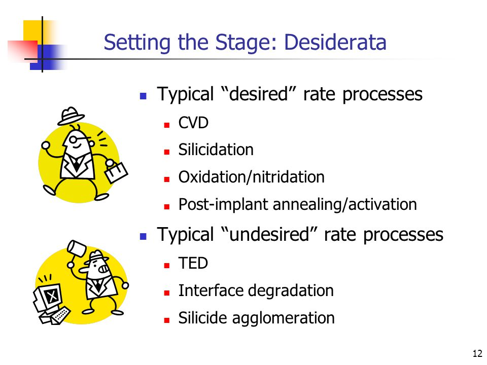 12 Setting the Stage: Desiderata Typical desired rate processes CVD Silicidation Oxidation/nitridation Post-implant annealing/activation Typical undesired rate processes TED Interface degradation Silicide agglomeration