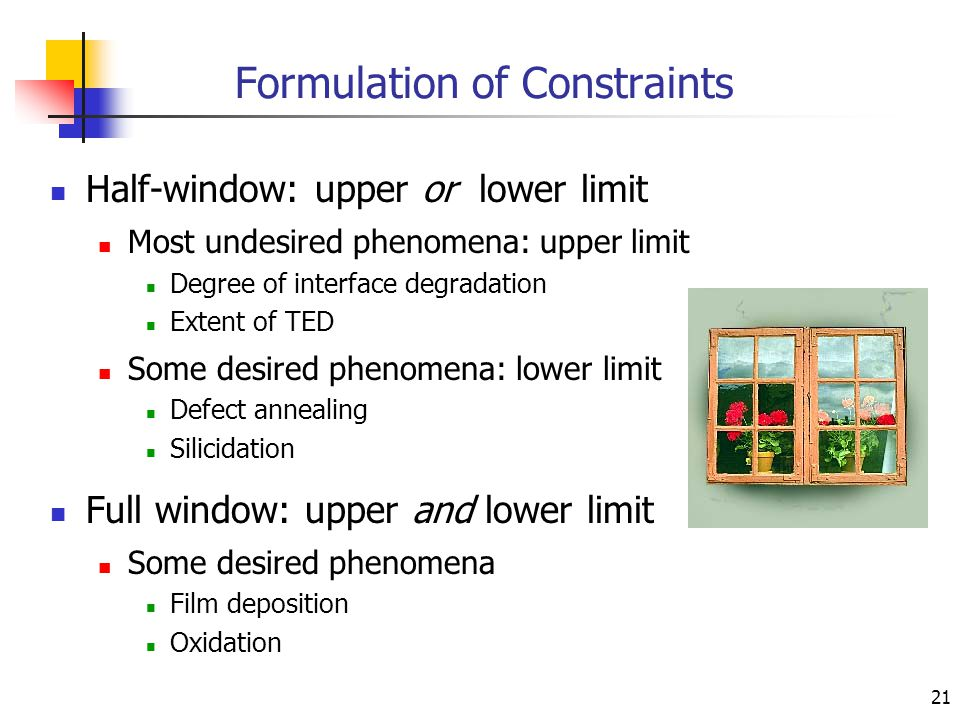 21 Formulation of Constraints Half-window: upper or lower limit Most undesired phenomena: upper limit Degree of interface degradation Extent of TED Some desired phenomena: lower limit Defect annealing Silicidation Full window: upper and lower limit Some desired phenomena Film deposition Oxidation