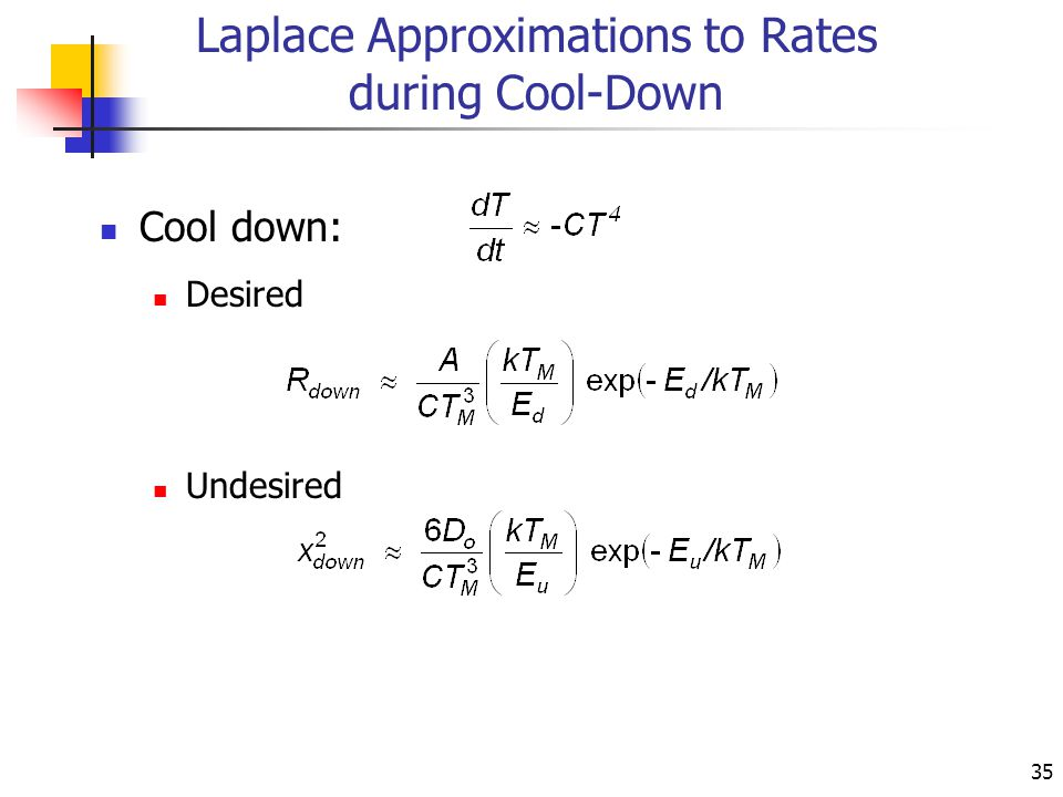 35 Laplace Approximations to Rates during Cool-Down Cool down: Desired Undesired