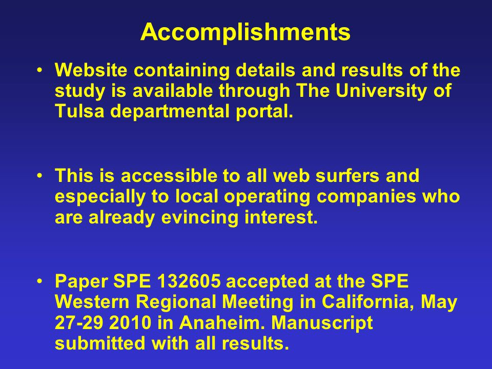 Accomplishments Website containing details and results of the study is available through The University of Tulsa departmental portal.