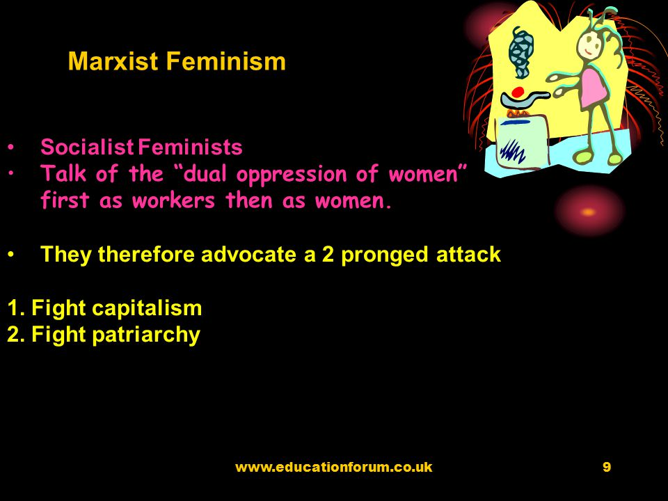 www.educationforum.co.uk8 Marxist Feminists see the principle source of division in society to be class – the exploitation of women is essential for t
