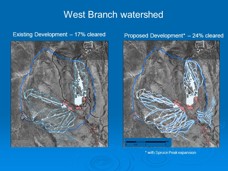 West Branch watershed Existing Development – 17% cleared Proposed Development* – 24% cleared * with Spruce Peak expansion