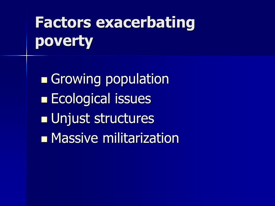 Factors exacerbating poverty Growing population Growing population Ecological issues Ecological issues Unjust structures Unjust structures Massive militarization Massive militarization