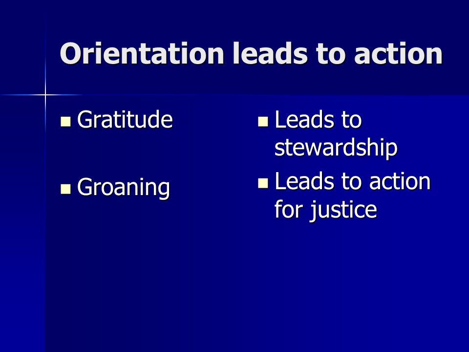 Orientation leads to action Gratitude Gratitude Groaning Groaning Leads to stewardship Leads to stewardship Leads to action for justice Leads to actio