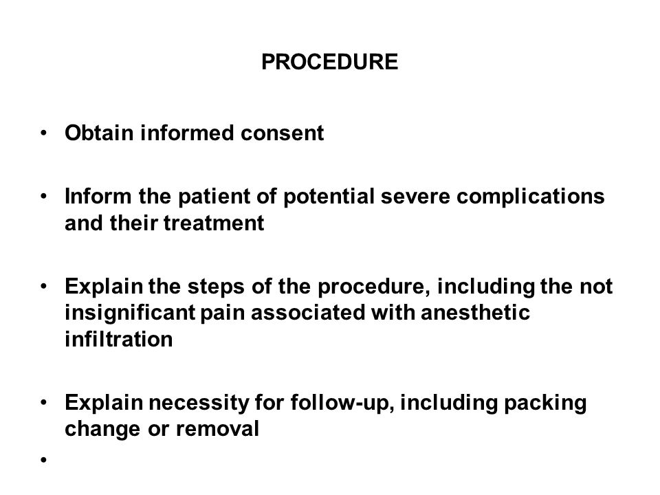 PROCEDURE CONTINUED Use universal precautions Cleanse site over abscess with skin prep Drape to create a sterile field Infiltrate local anesthetic, allow 2-3 minutes for anesthetic to take effect Incise widely over abscess with the #11 blade, cutting through the skin into the abscess cavity.
