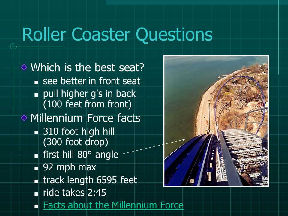 Roller Coaster Questions Which is the best seat.