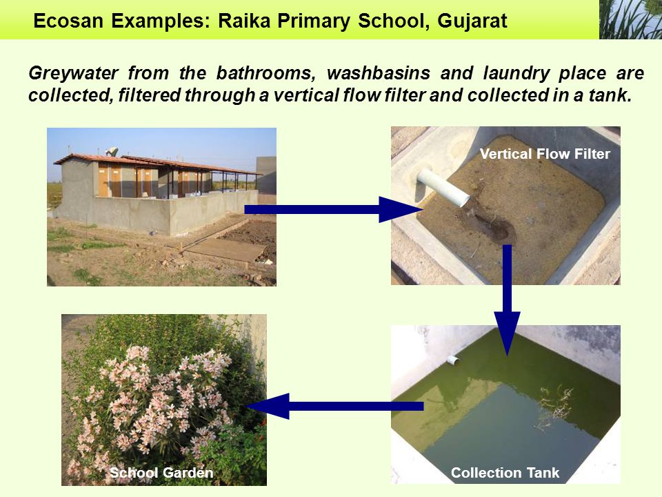 Ecosan Examples: Raika Primary School, Gujarat Collection TankSchool Garden Vertical Flow Filter Greywater from the bathrooms, washbasins and laundry place are collected, filtered through a vertical flow filter and collected in a tank.