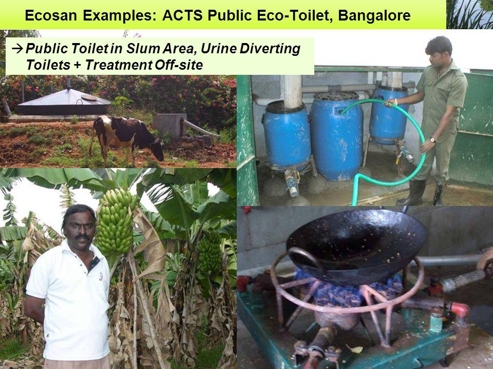 Ecosan Examples: ACTS Public Eco-Toilet, Bangalore  Public Toilet in Slum Area, Urine Diverting Toilets + Treatment Off-site