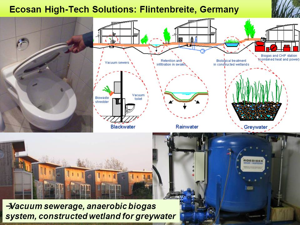 Ecosan High-Tech Solutions: Flintenbreite, Germany  Vacuum sewerage, anaerobic biogas system, constructed wetland for greywater