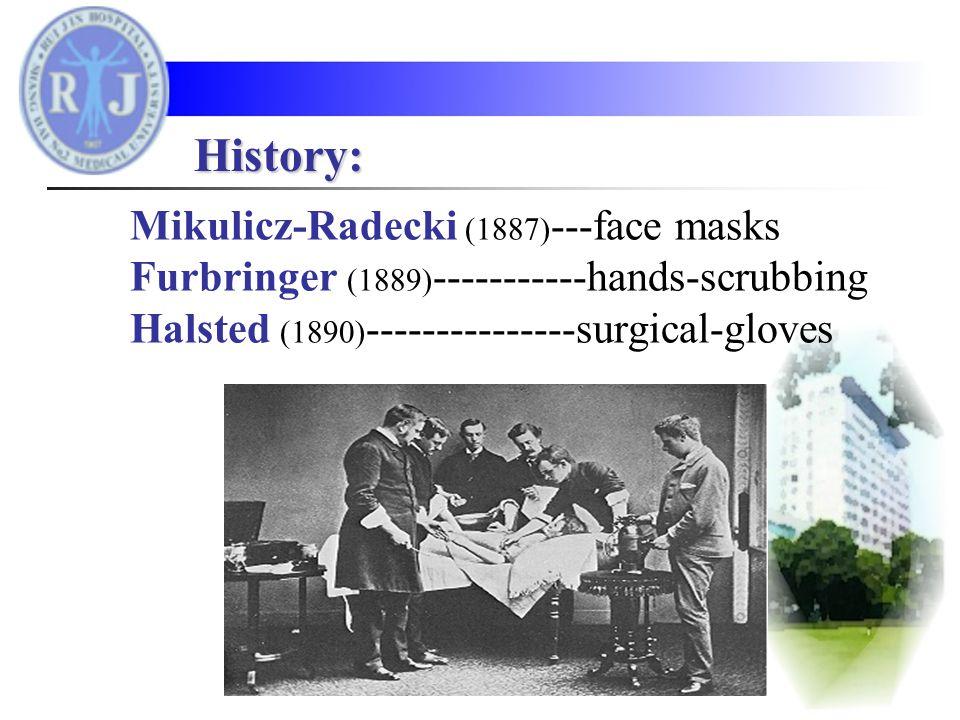 Mikulicz-Radecki (1887) ---face masks Furbringer (1889) -----------hands-scrubbing Halsted (1890) ---------------surgical-gloves History: