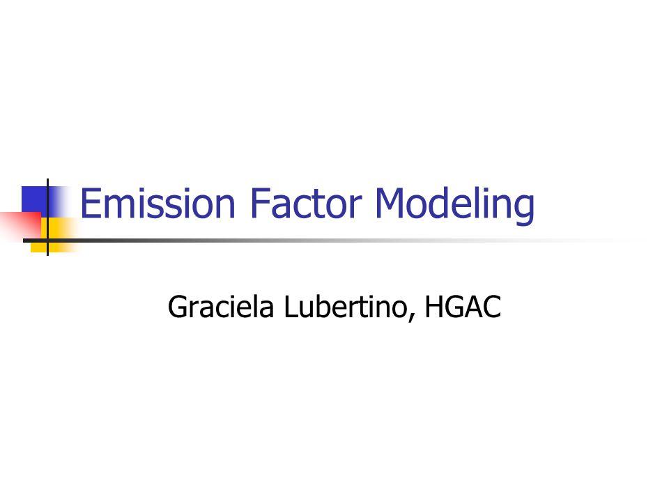 Emission Factor Modeling Graciela Lubertino, HGAC