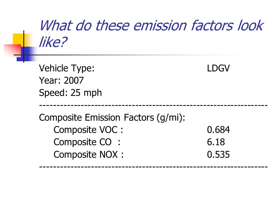 What do these emission factors look like.